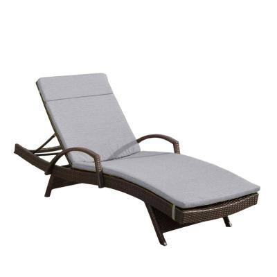 Miller Grey Armless Wicker Outdoor Chaise Lounge with Charcoal Cushion
