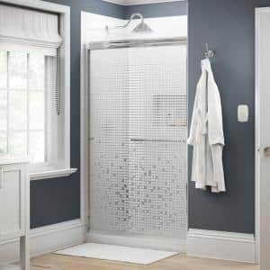 Simplicity 48 in. x 70 in. Semi-Frameless Traditional Sliding Shower Door in Chrome with Mozaic Glass