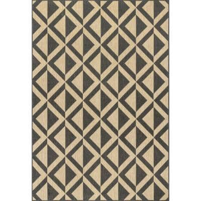 Nara Charcoal 6 ft. 7 in. x 9 ft. Abstract Geometric Indoor/Outdoor Area Rug