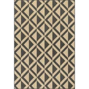 Nara Charcoal 9 ft. 6 in. x 12 ft. Abstract Geometric Indoor/Outdoor Area Rug