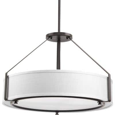 Ratio Collection 4-Light Antique Bronze Pendant with Fabric Shade Glass