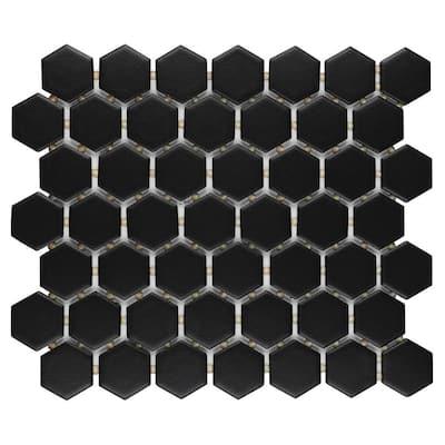 Restore Matte Black Hexagon 10 in. x 12 in. x 6.35 mm Glazed Ceramic Mosaic Tile (0.81 sq. ft./Each)