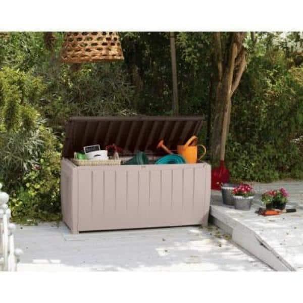 Keter Jumbo Deck Box Plastic Garden Storage Box White 570 Liter Fassungsverm/ögen