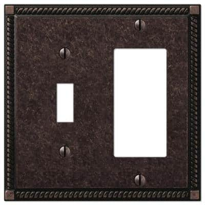 Georgian 2 Gang 1-Toggle and 1-Rocker Metal Wall Plate - Tumbled Aged Bronze