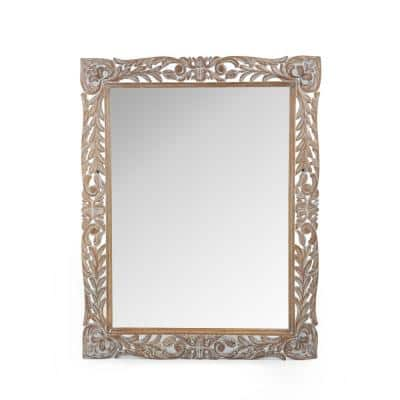 Gedney 46.5 in. x 37 in. Classic Rectangle Framed Weathered White Floral Accent Mirror