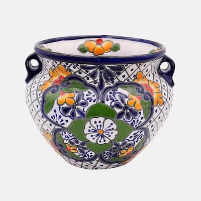 Talavera 12 in. White Ceramic Chata Planter