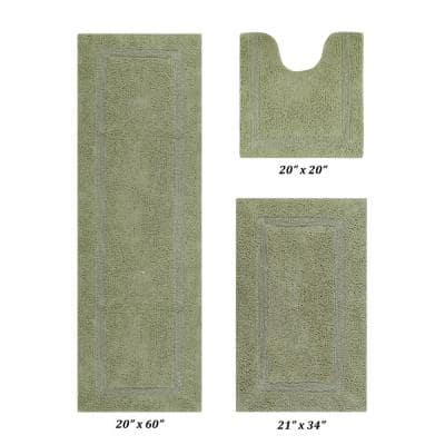 Lux Collection Sage 20 in. x 20 in., 21 in. x 34 in., 20 in. x 60 in. 100% Cotton 3-Piece Bath Rug Set