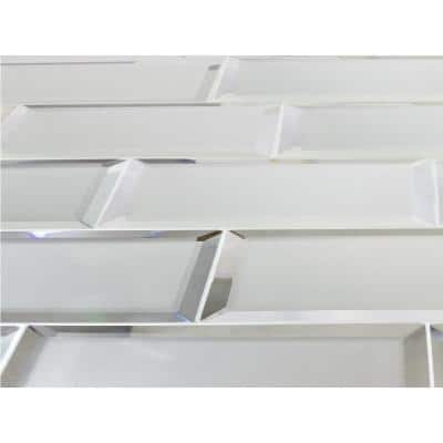 Reflections Frosted Matte 3 in. x 12 in. Beveled Glass Subway Wall Tile (14 sq. ft./Case)