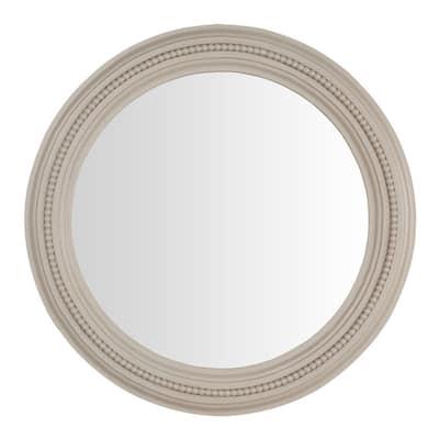 Medium Round Biscuit Antiqued Farmhouse Accent Mirror (24 in. Diameter)