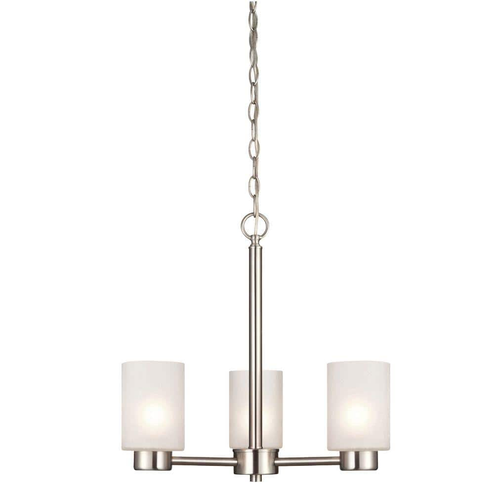 Westinghouse Sylvestre 3 Light Brushed Nickel Chandelier With Frosted Seeded Glass Shades 6227500 The Home Depot