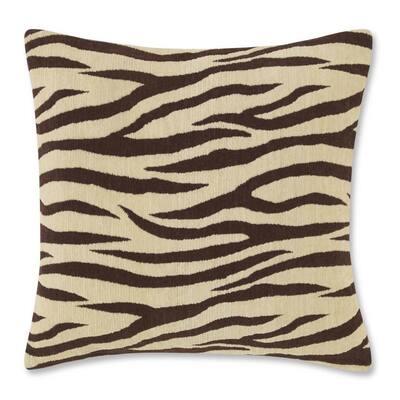 Zebra Brown Plush 20X20 Decorative Pillow
