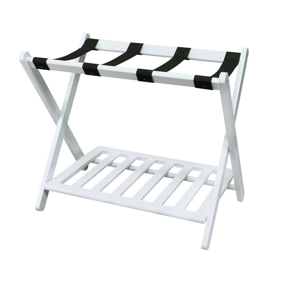 Casual Home 26 75 In W X 16 In D Solid Wood White Luggage Rack With Shelf 102 21 The Home Depot