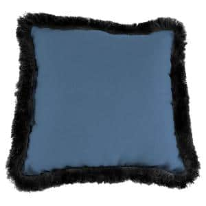 Sunbrella Canvas Sapphire Blue Square Outdoor Throw Pillow with Black Fringe