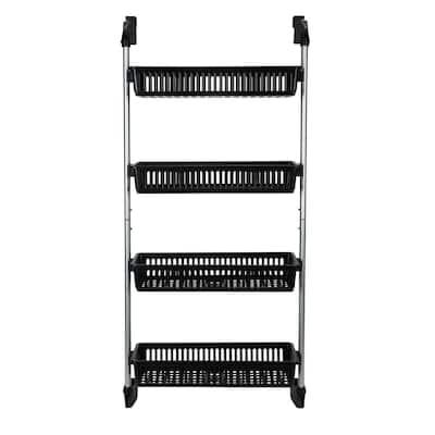 4-Basket Over the Door Storage Organizer Basket Hook in Black