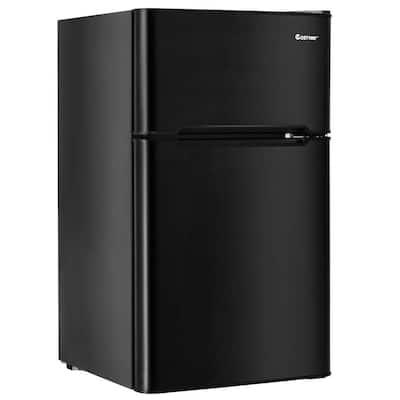 3.2 cu. ft. Mini Fridges Stainless Steel Refrigerator Small Freezer Cooler Fridge Compact Unit in Black