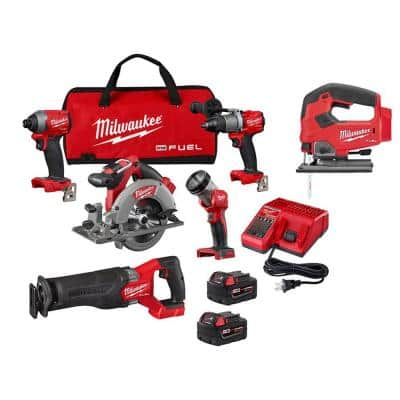 M18 FUEL 18-Volt Lithium-Ion Brushless Cordless Combo Kit (5-Tool) W/ FUEL Jigsaw