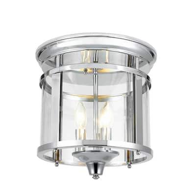 Wingate 12.25 in. 3-Light Polished Chrome Flush Mount Ceiling Light