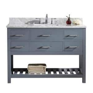 Caroline Estate 49 in. W Bath Vanity in Gray with Marble Vanity Top in White with Square Basin