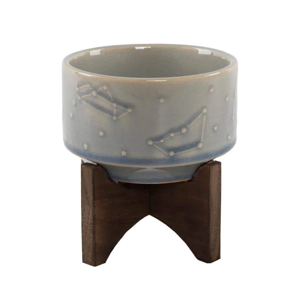 Flora Bunda 4 In Glass Blue Ceramic Constellation Pot On Wood Stand Mid Century Planter Ct940e Gsbl The Home Depot