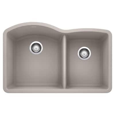 DIAMOND Undermount Granite Composite 32 in. 60/40 Double Bowl Kitchen Sink in Concrete Gray