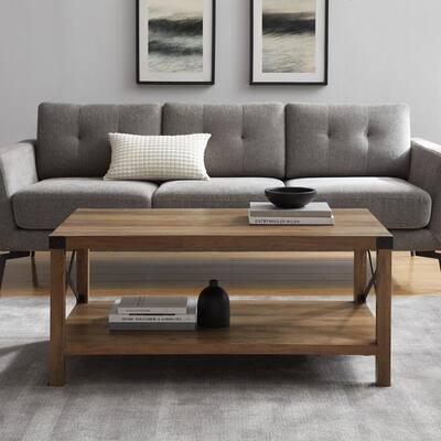 Urban Industrial 40 in. Rustic Oak Medium Rectangle MDF Coffee Table with Shelf