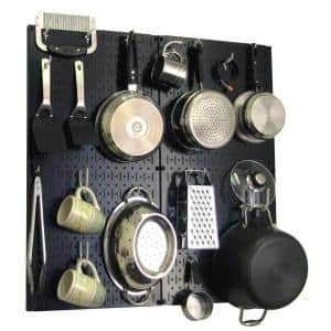Kitchen Pegboard 32 in. x 32 in. Metal Peg Board Pantry Organizer Kitchen Pot Rack Black Pegboard and White Peg Hooks