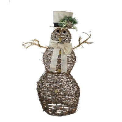 48 in. LED Lighted Rattan Snowman Outdoor Christmas Decoration