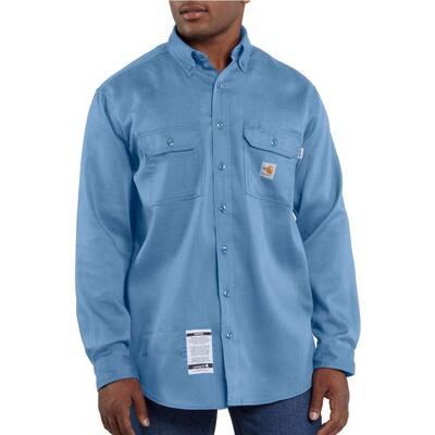 Men's Regular Large Medium Blue FR Lightweight Twill Shirt