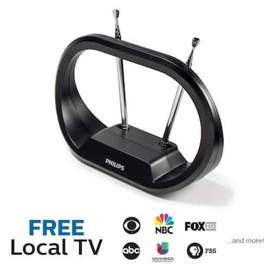 Indoor HDTV Antenna, 30-Mile Range, Tabletop Modern Rabbit Ear Design with Extendable Dipoles, VHF UHF 1080P 4K Ready