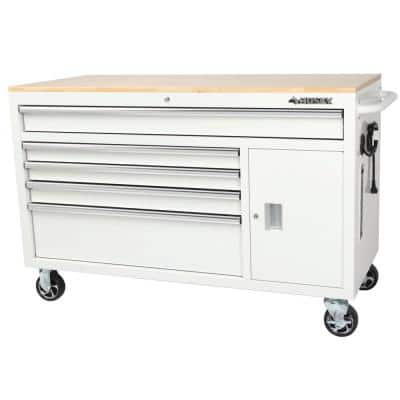 56 in. W 5-Drawer 1-Door, Deep Tool Chest Mobile Workbench in Gloss White with Hardwood Top