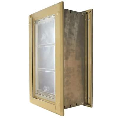 8 in. x 15 in. Medium Single Flap for Walls Pet Door with Tan Aluminum Frame
