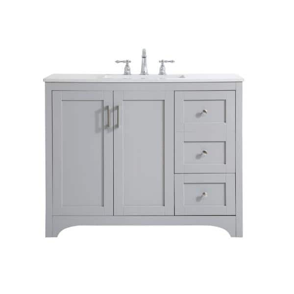 Timeless Home 42 In W X 22 In D X 34 In H Single Bathroom Vanity In Grey With Calacatta Quartz Th34042grey The Home Depot