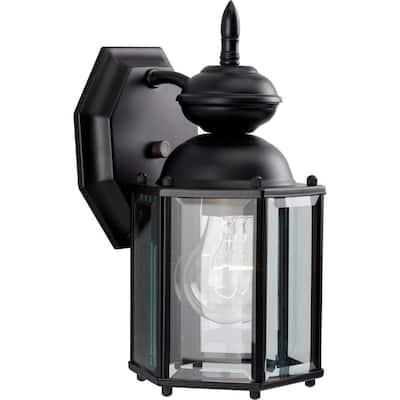 BrassGUARD Lantern Collection 1-Light Matte Black Clear Beveled Glass Traditional Outdoor Wall Lantern Light