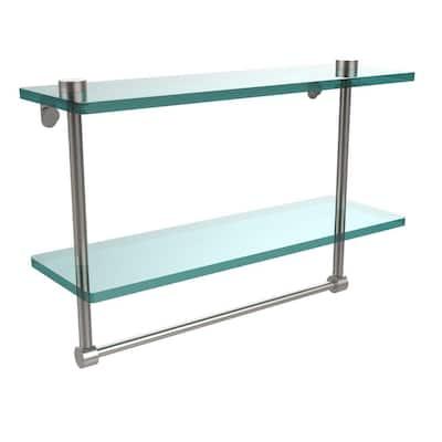 16 in. L  x 12 in. H  x 5 in. W 2-Tier Clear Glass Vanity Bathroom Shelf with Towel Bar in Satin Nickel