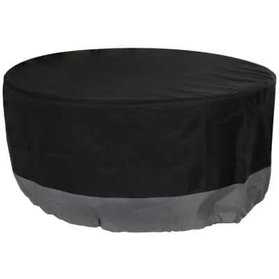 36 in. Gray/Black Round 2-Tone Outdoor Fire Pit Cover
