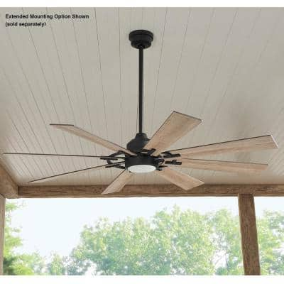 Makenna DC 60 in. White Color Changing Integrated LED Outdoor Matte Black Ceiling Fan with Light, DC Motor and Remote