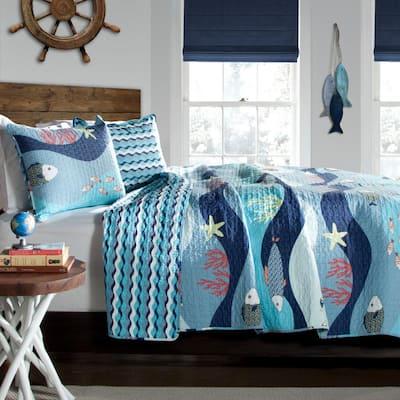 Sea Life Quilt Blue 3-Piece Full/Queen Set