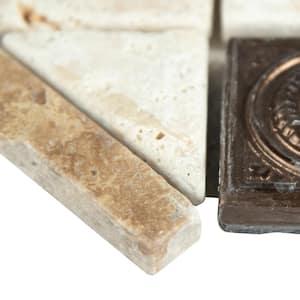 Noche Chiaro Copper Scudo Listello 4 in. x 12 in. Textured Travertine Metal Floor and Wall Tile (10 pieces/case)