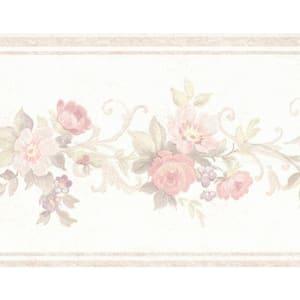 Falkirk Brin Blooming Roses On Vine Beige, Pink Wallpaper Border