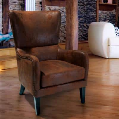 Lorenzo Brown Microfiber Studded Club Chair