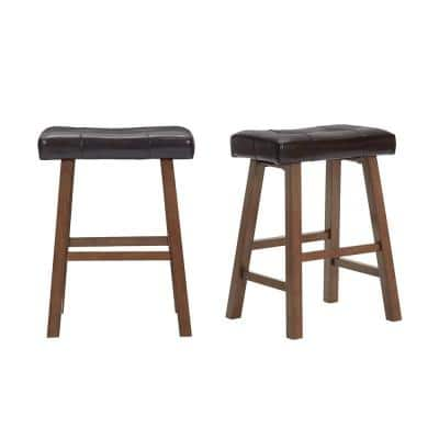 Upholstered Counter Stool with Brown Faux Leather Saddle Seat (Set of 2) (18.75 in. W x 25 in. H)