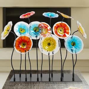 Flower Garden 31.75 in. Black Art Glass decor with Metal Shade