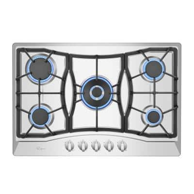 Built-in 30 in. Gas Cooktop in Stainless Steel with 5 Sealed Burners Cook Tops