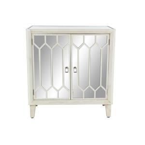 White Rectangular Wooden 2-Door Accent Cabinet with Mirrored Doors