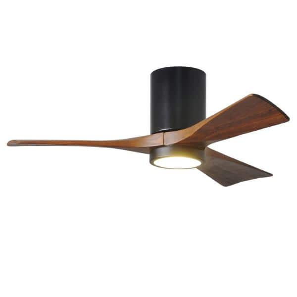 Atlas Irene 42 In Led Indoor Outdoor Damp Matte Black Ceiling Fan With Light With Remote Control Wall Control Ir3hlk Bk Wa 42 The Home Depot