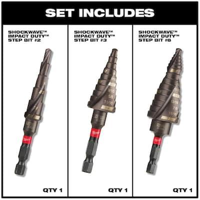 SHOCKWAVE Impact Duty Titanium Step Bit Kit (3-Piece)