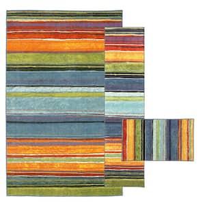 Rainbow Multi 8 ft. x 10 ft. 3-Piece Indoor Rug Set