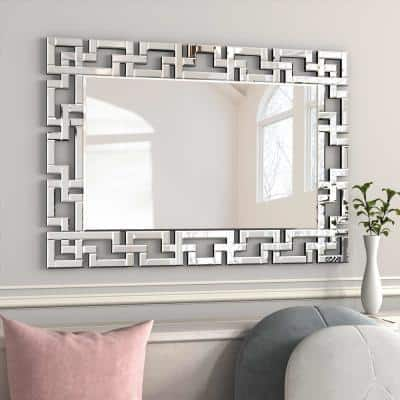 39 in. x 28 in. Rectangle Frameless Beveled Glass Decoration Mirror