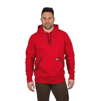 Men's 3XL Red Heavy Duty Cotton/Polyester Long-Sleeve Pullover Hoodie
