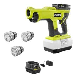 ONE+ 18V Cordless Handheld Electrostatic Sprayer Kit with Battery, Charger, and 100 Micron Replacement Nozzle (3-Pack)